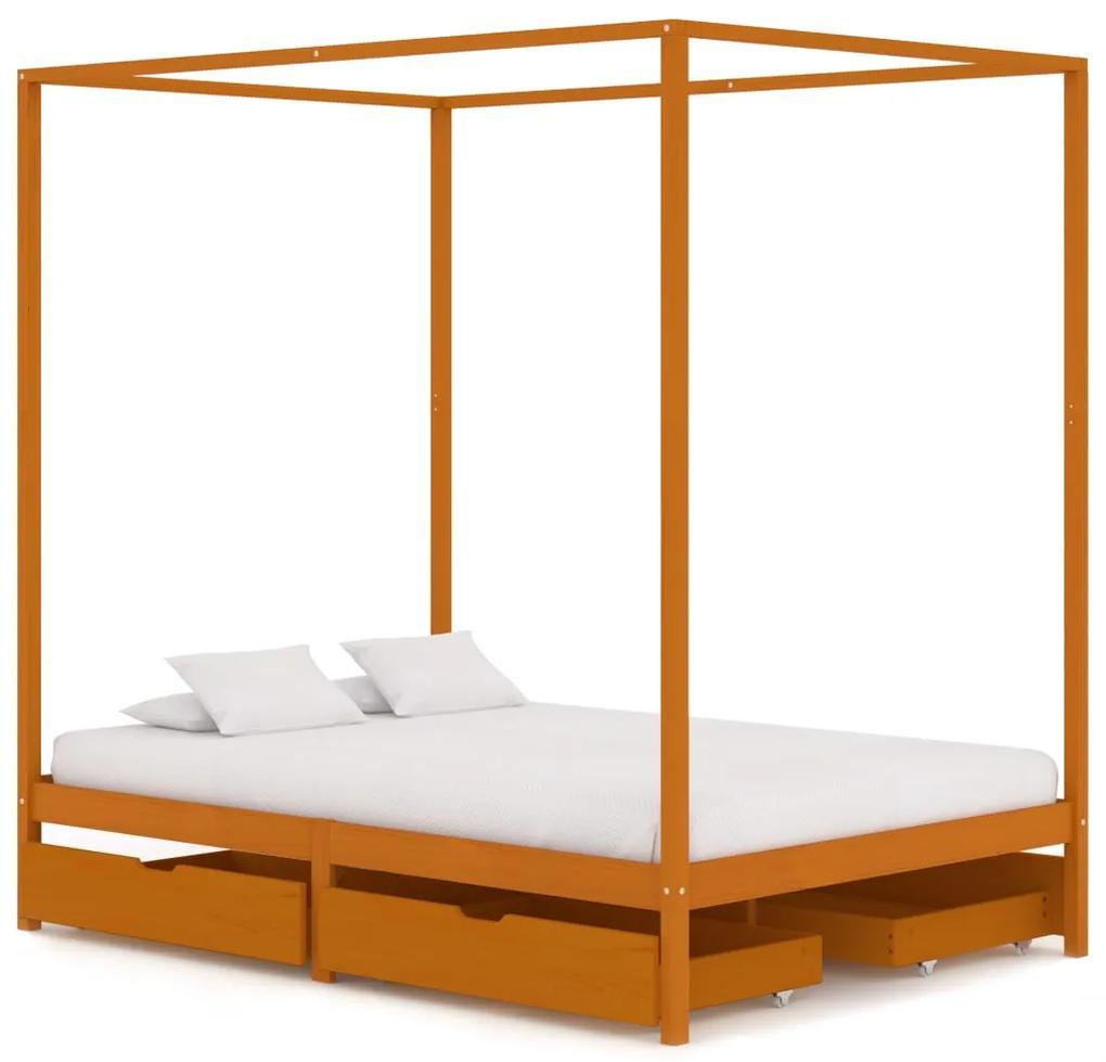 3060543 vidaXL Cadru pat cu baldachin, 4 sertare, 140x200 cm, lemn masiv pin