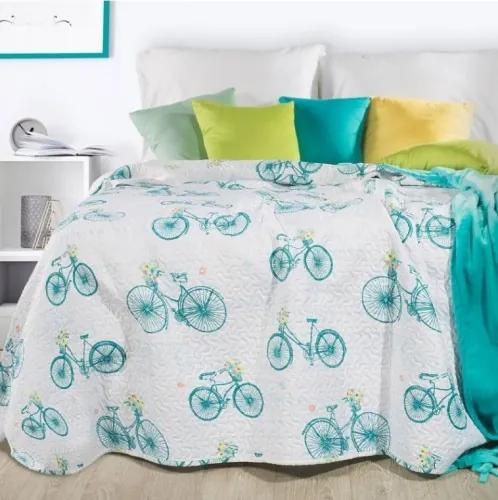 Cuvertura pat copii Rower Alb / Turcoaz, 170 x 210 cm
