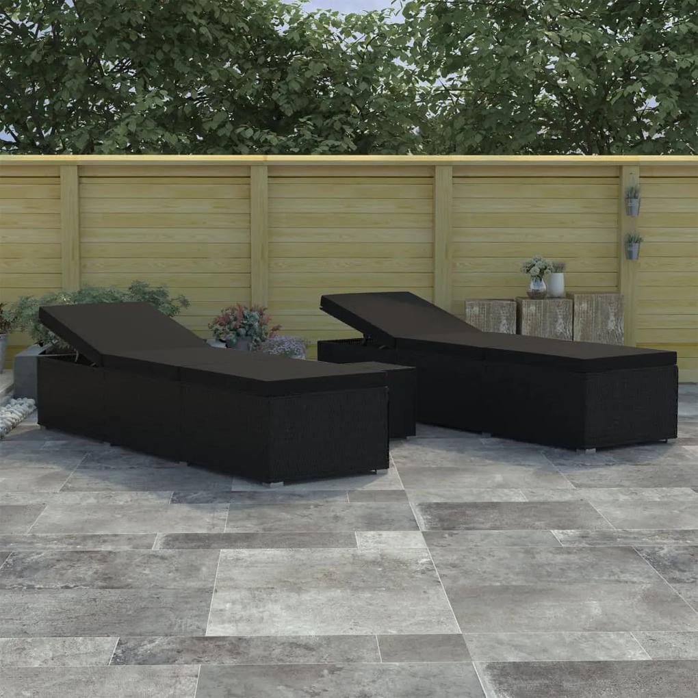 46223 vidaXL Set de șezlonguri de grădină, 3 piese, negru, poliratan