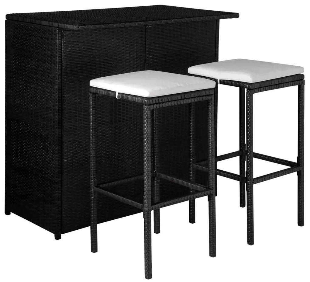 44175 vidaXL Set mobilier bistro cu perne, 3 piese, negru, poliratan