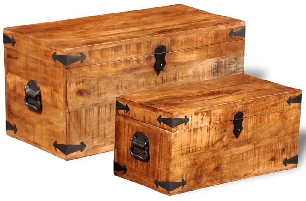 241634 vidaXL Set cufere de depozitare, 2 piese, lemn mango nefinisat