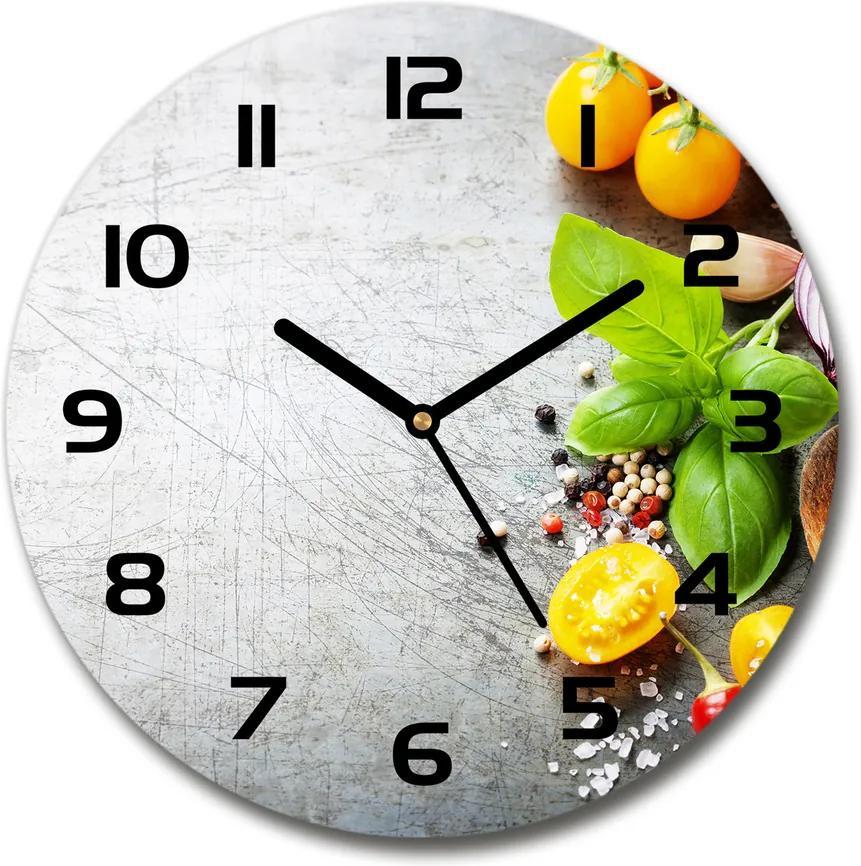 Ceas de sticlă pe perete rotund Legume