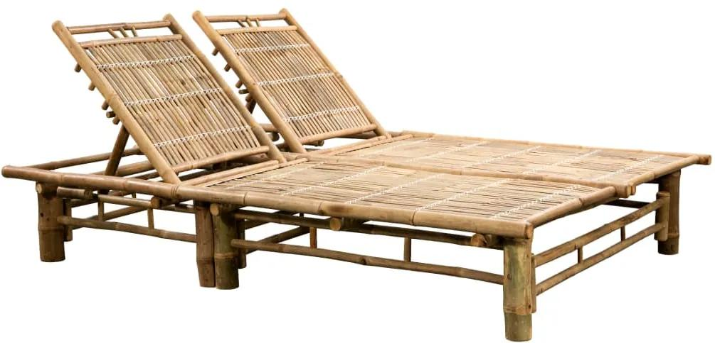 43715 vidaXL Șezlong de plajă pentru 2 persoane, bambus