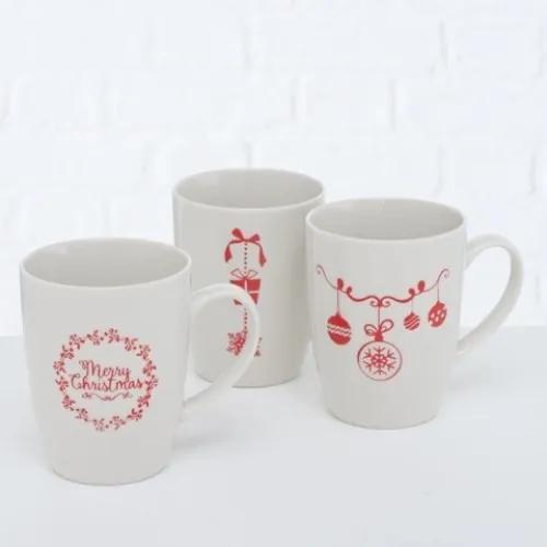 Cana din ceramica Merry Christmas Alb / Rosu, Modele Asortate, 330 ml