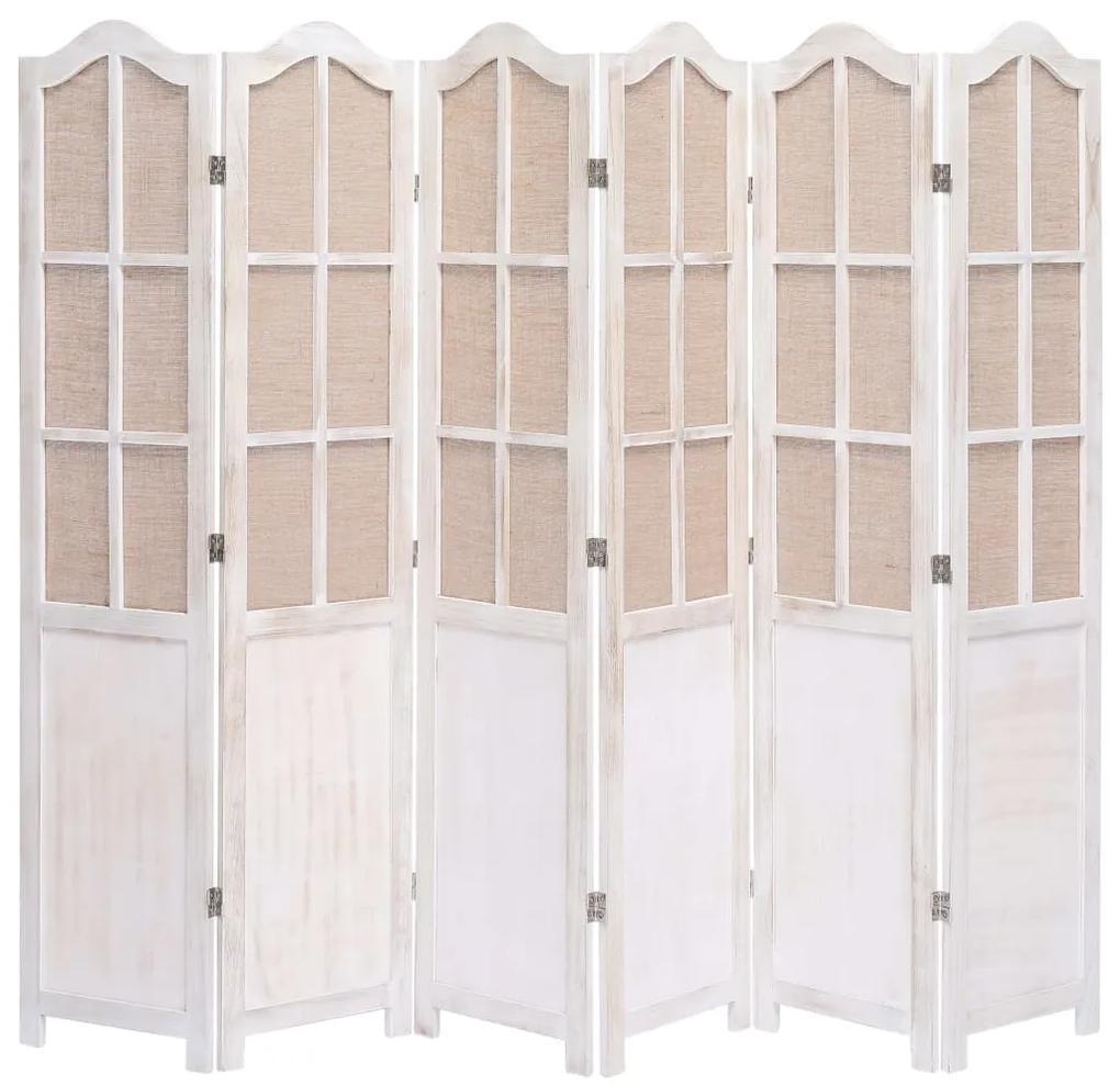 284222 vidaXL Paravan de cameră cu 6 panouri, alb, 210 x 165 cm, textil