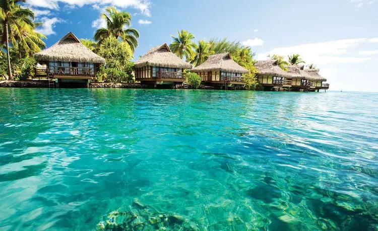 Island Caribbean Sea Tropical Cottages Fototapet, (250 x 104 cm)