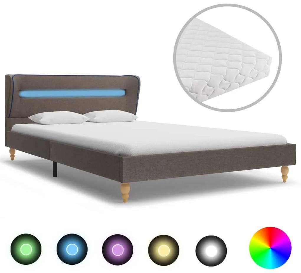 278373 vidaXL Pat cu LED și saltea, gri taupe, 140 x 200 cm, material textil