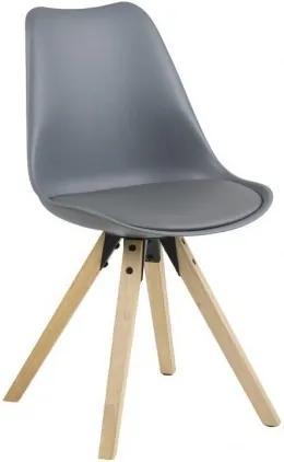 Scaun din plastic, sezut tapitat cu piele ecologica si picioare din lemn Dima Gri / Stejar, l48,5xA55xH85 cm