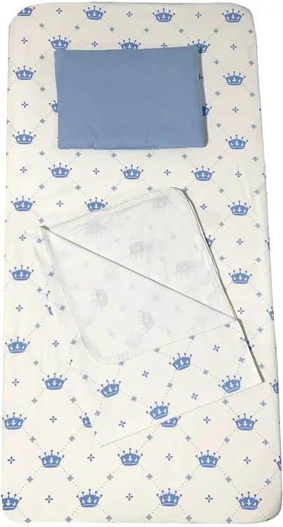 Deseda - Set 3 piese pat 160x80 cm cu cearsaf paturica si perna Coronite albastru