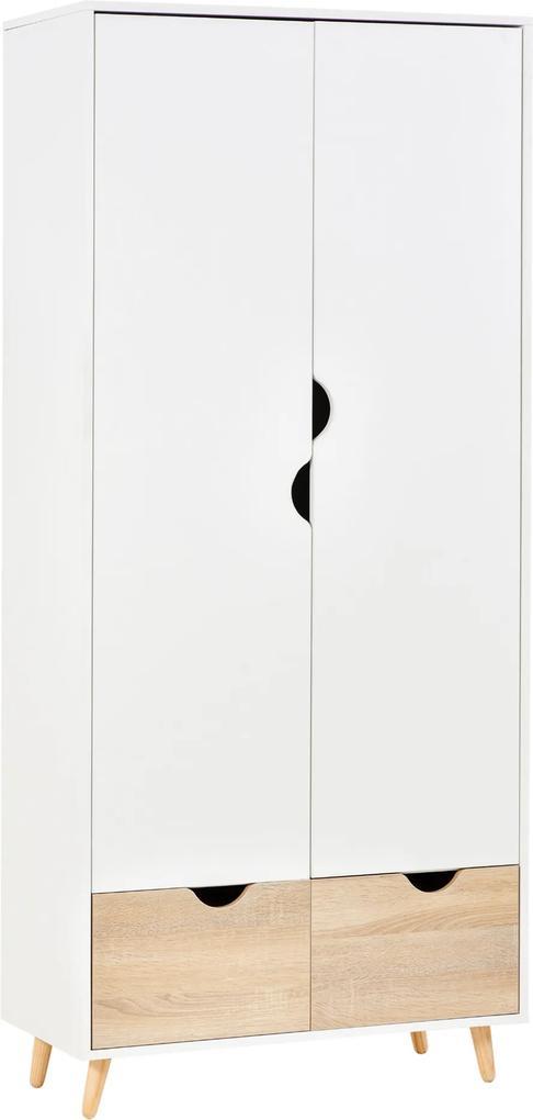 HOMCOM Dulap elegant alb cu raft de haina 2 sertare pentru dormitor