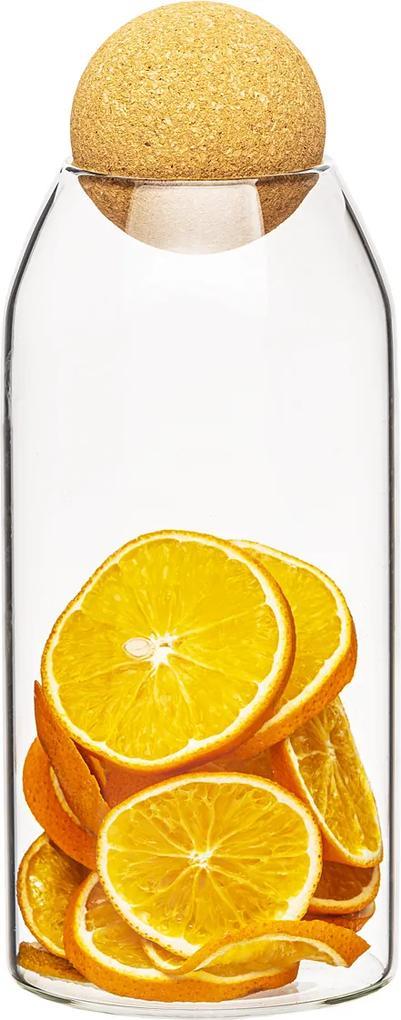 Recipient de sticlă 4Home cu capac Cork, 1,1 l