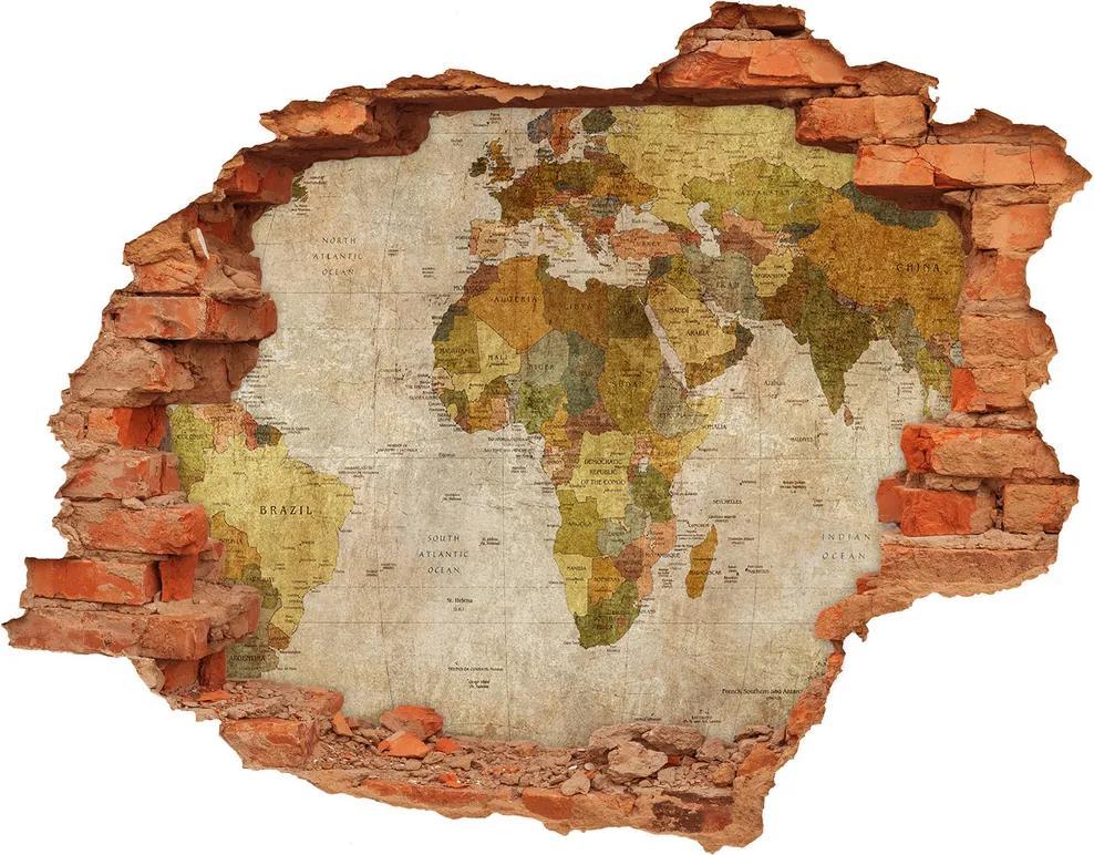 Samolepiaca diera na stenu Politická mapa