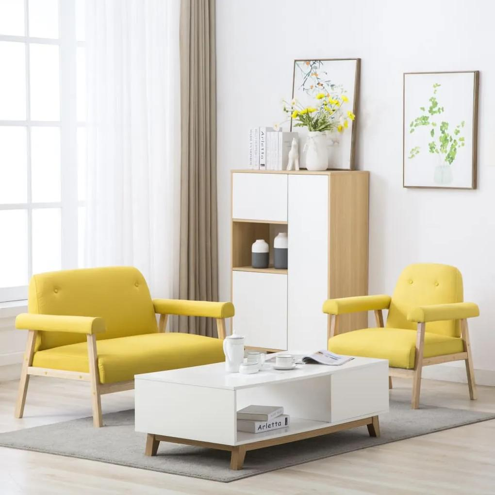 275216 vidaXL Set canapea de 3 persoane, 2 piese, material textil, galben
