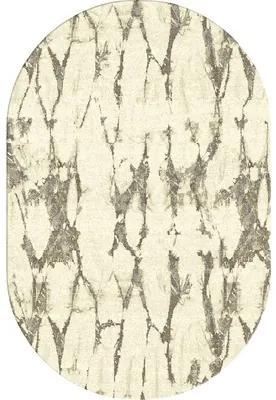 Covor sintetic frisé oval bej 60x110 cm