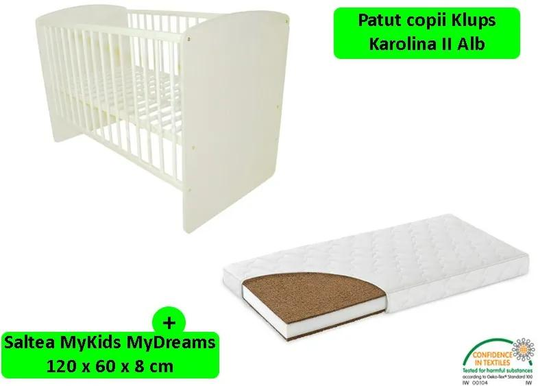 Klups - Patut Karolina II Alb + saltea 8 Mykids mydreams II