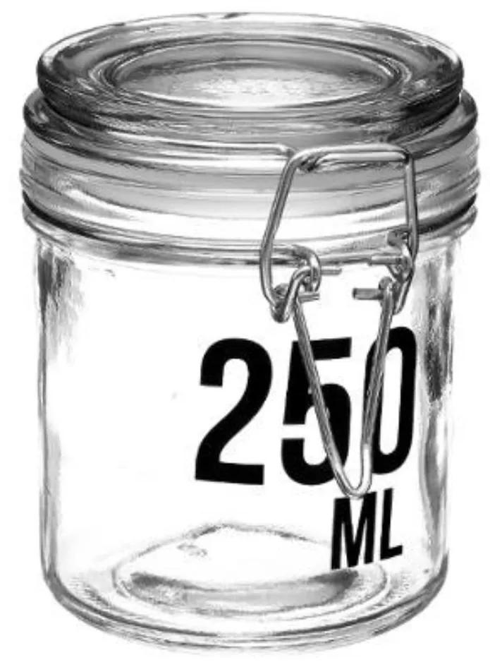Borcan 250 ML pentru depozitare cu capac ermetic cleme metalice