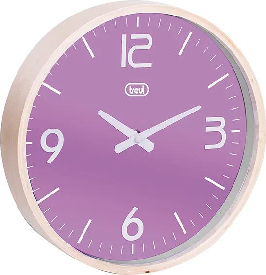 Ceas de perete cu quartz OM 3311 L, 25cm, carcasa lemn, violet, Trevi
