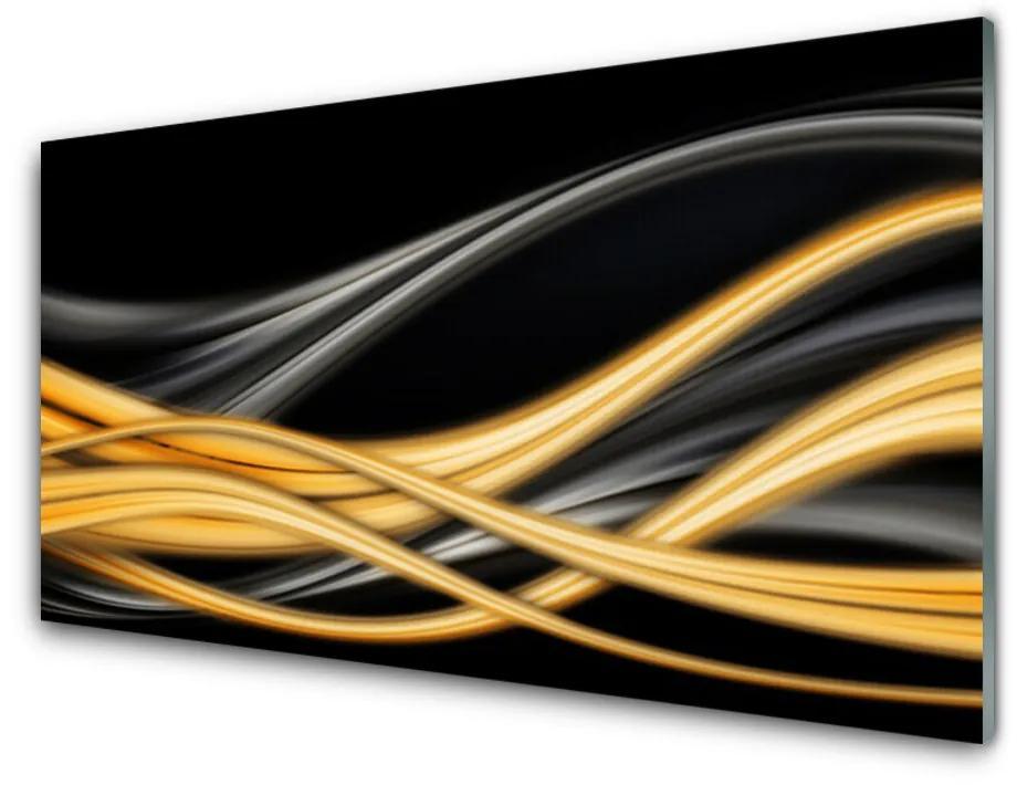 Tablou pe sticla acrilica Rezumat Arta negru aur galben