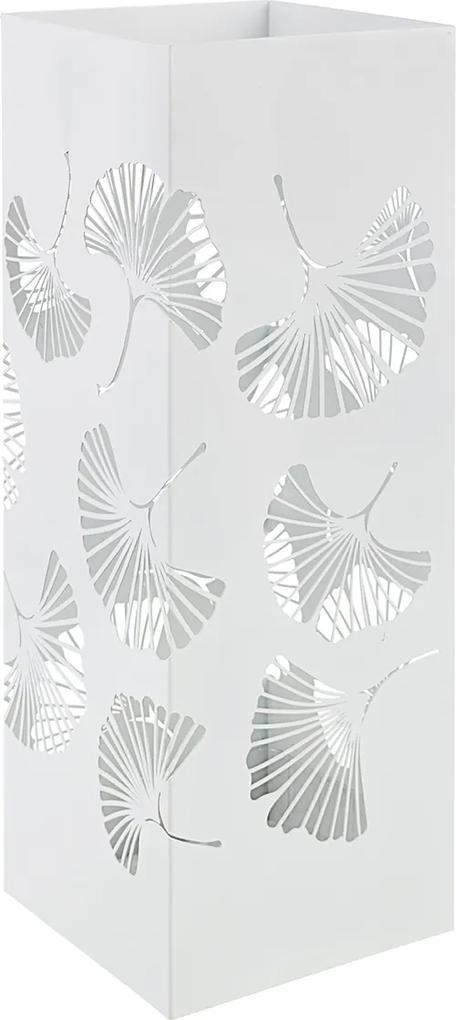 Suport umbrele metal alb Ginkgo 19 cm x 19 cm x 52 h
