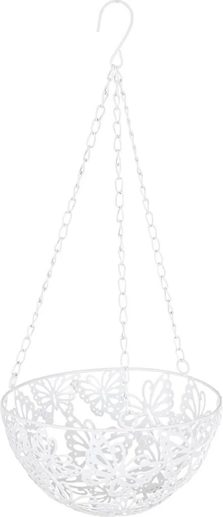 Suport ghiveci flori suspendabil metal alb 25 cm x 57H