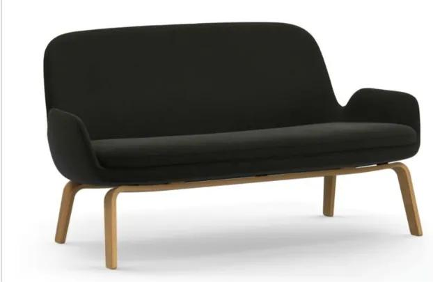 Canapea din lana neagra cu picioare lemn stejar 61134 Era Normann Copenhagen