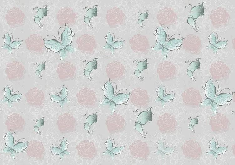 Butterlies and Roses Pattern Fototapet, (368 x 254 cm)