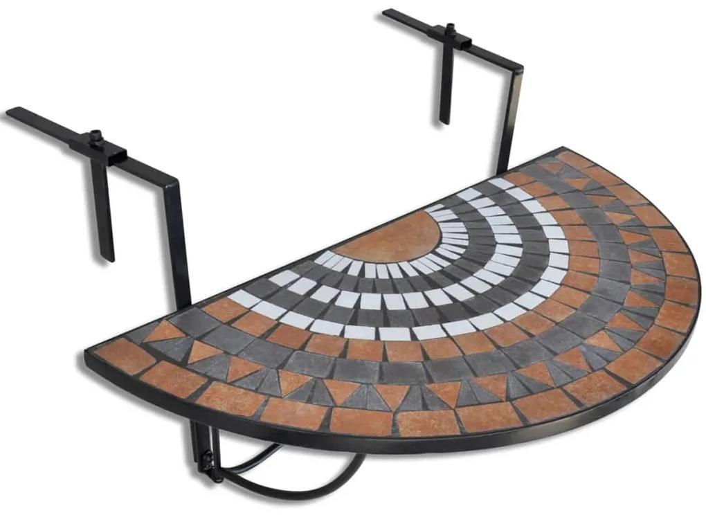 41126 vidaXL Masă de balcon suspendată, teracotă și alb, mozaic