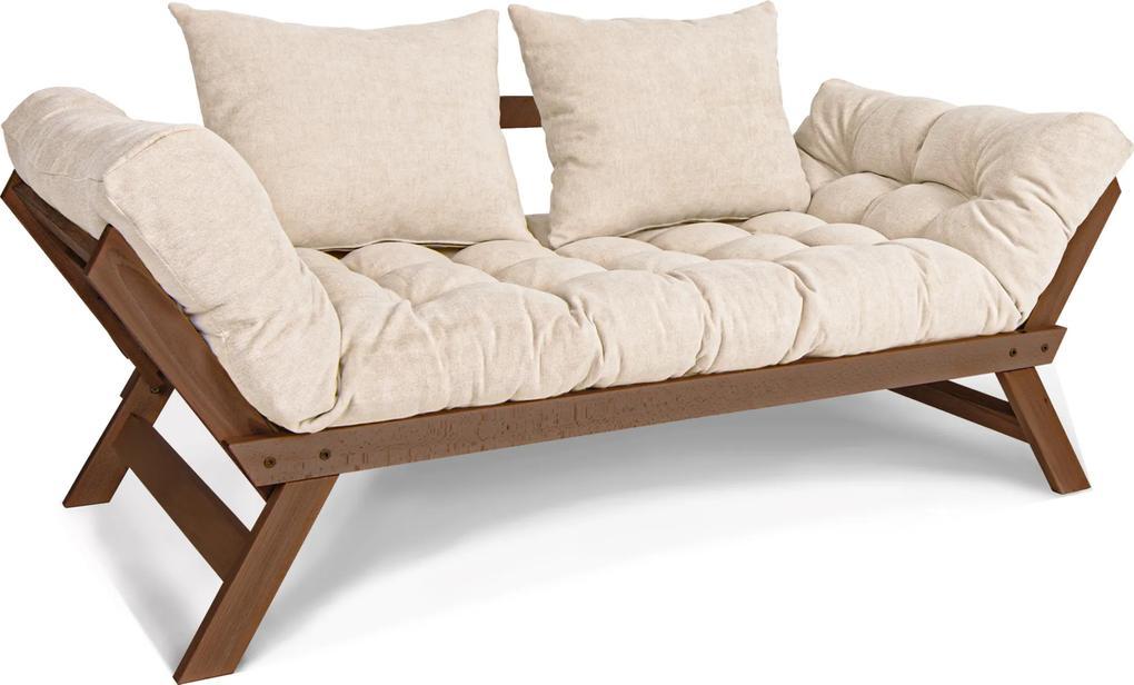 Canapea din lemn de fag Allegro Walnut Cream 170x83x80 cm