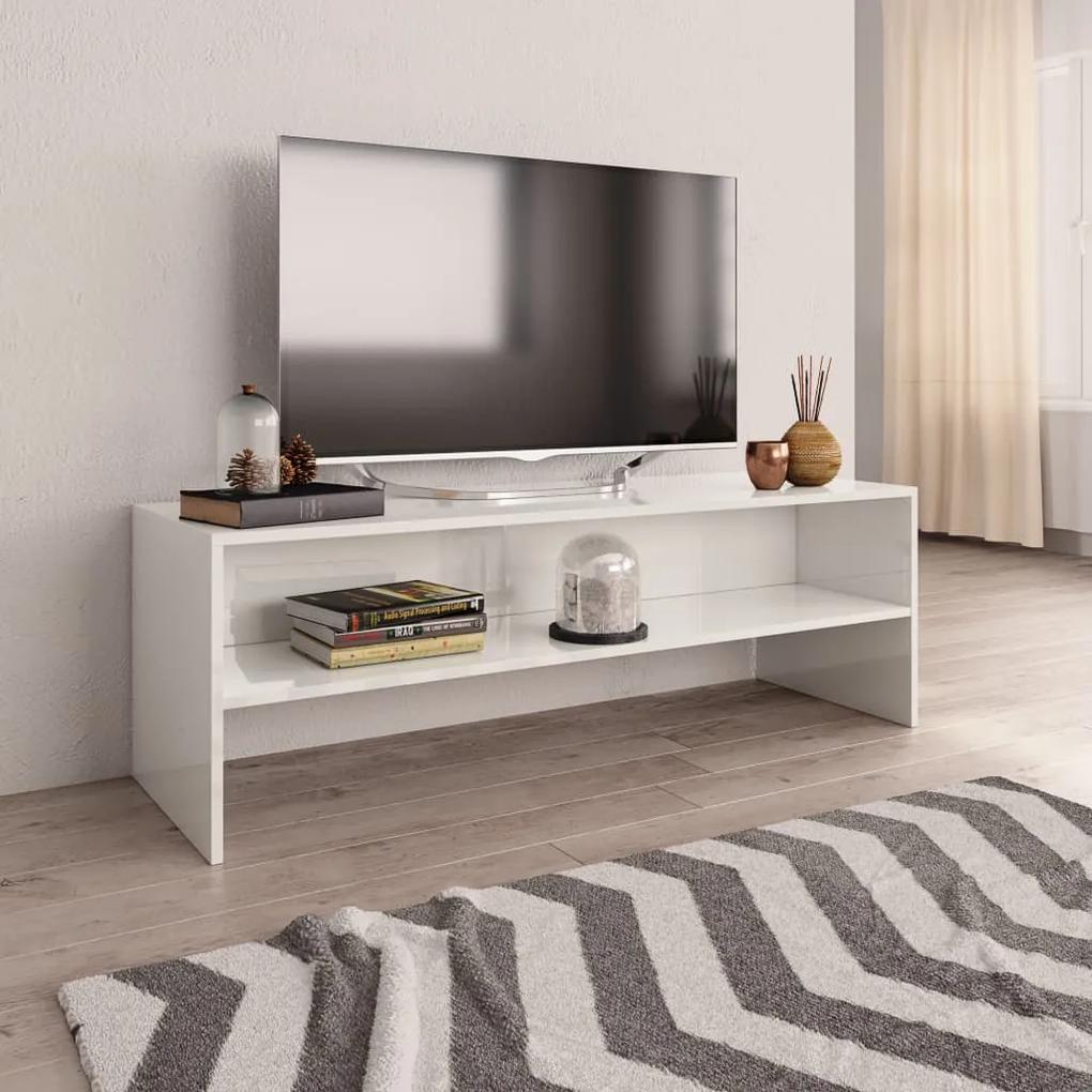 800042 vidaXL Comodă TV, alb foarte lucios, 120 x 40 x 40 cm, PAL
