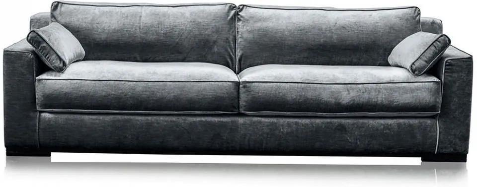 Canapea gri otel din viscoza si lemn pentru 4 persoane Metro