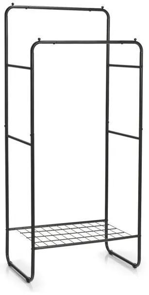 Suport haine dublu Zeller Retro, metalic, negru, 70x45x155 cm
