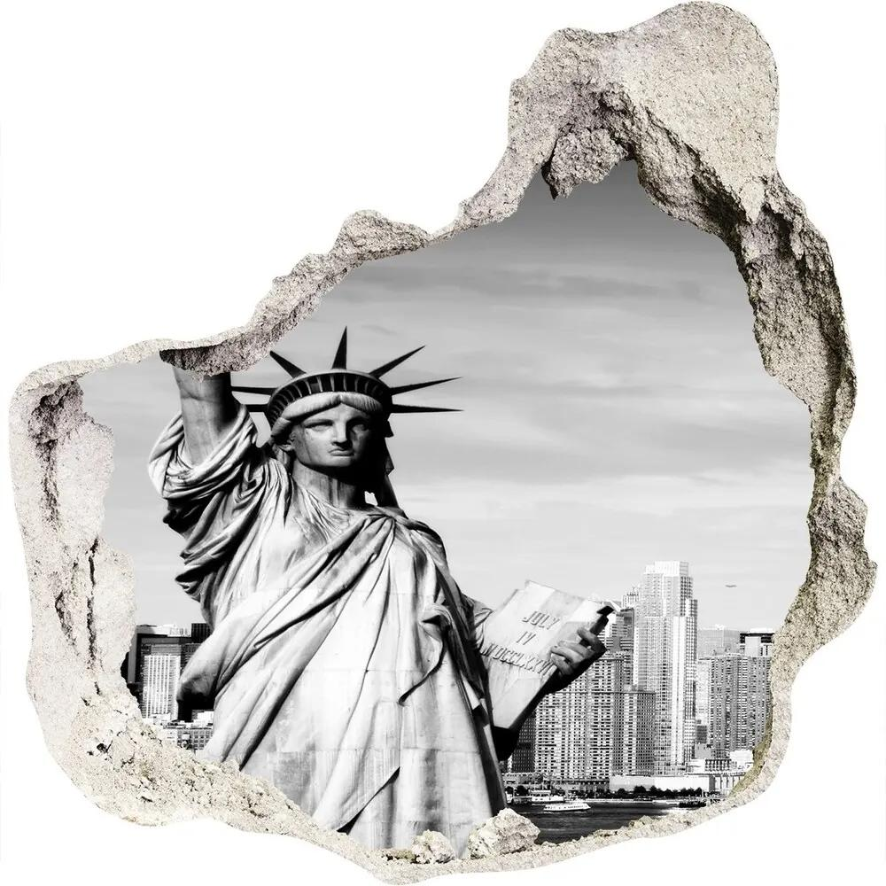 Fototapet un zid spart cu priveliște Statuia Libertății