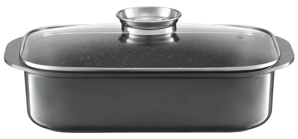 Tava pentru prajit 40x25cm cu invelis Qualum Basic stone edition gri Glamour