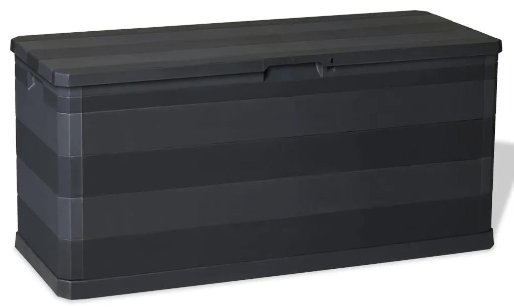 43708 vidaXL Ladă de depozitare pentru grădină, negru, 117 x 45 x 56 cm