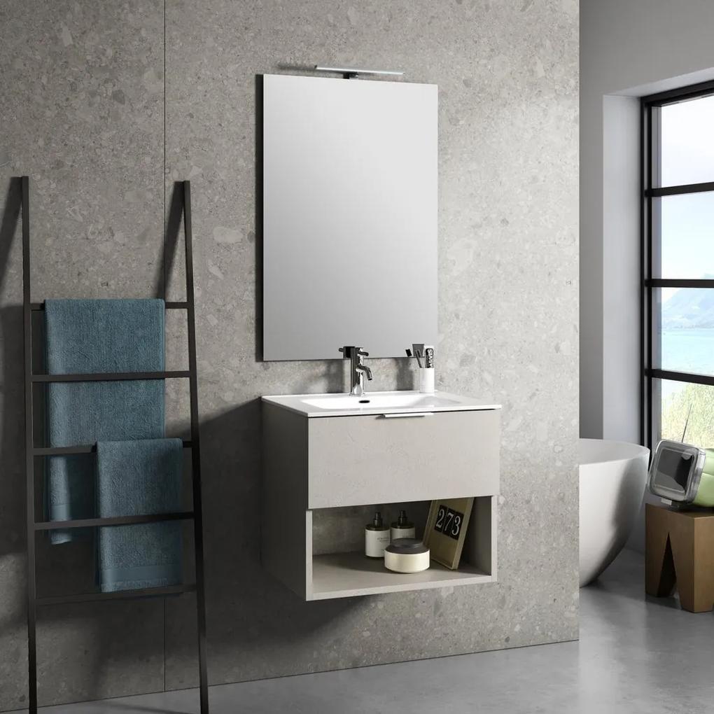 Set de baie cu 4 piese ONE, Melamina Aluminiu Abs Sticla Ceramica Metal, Bej deschis, 61x46.5x190 cm