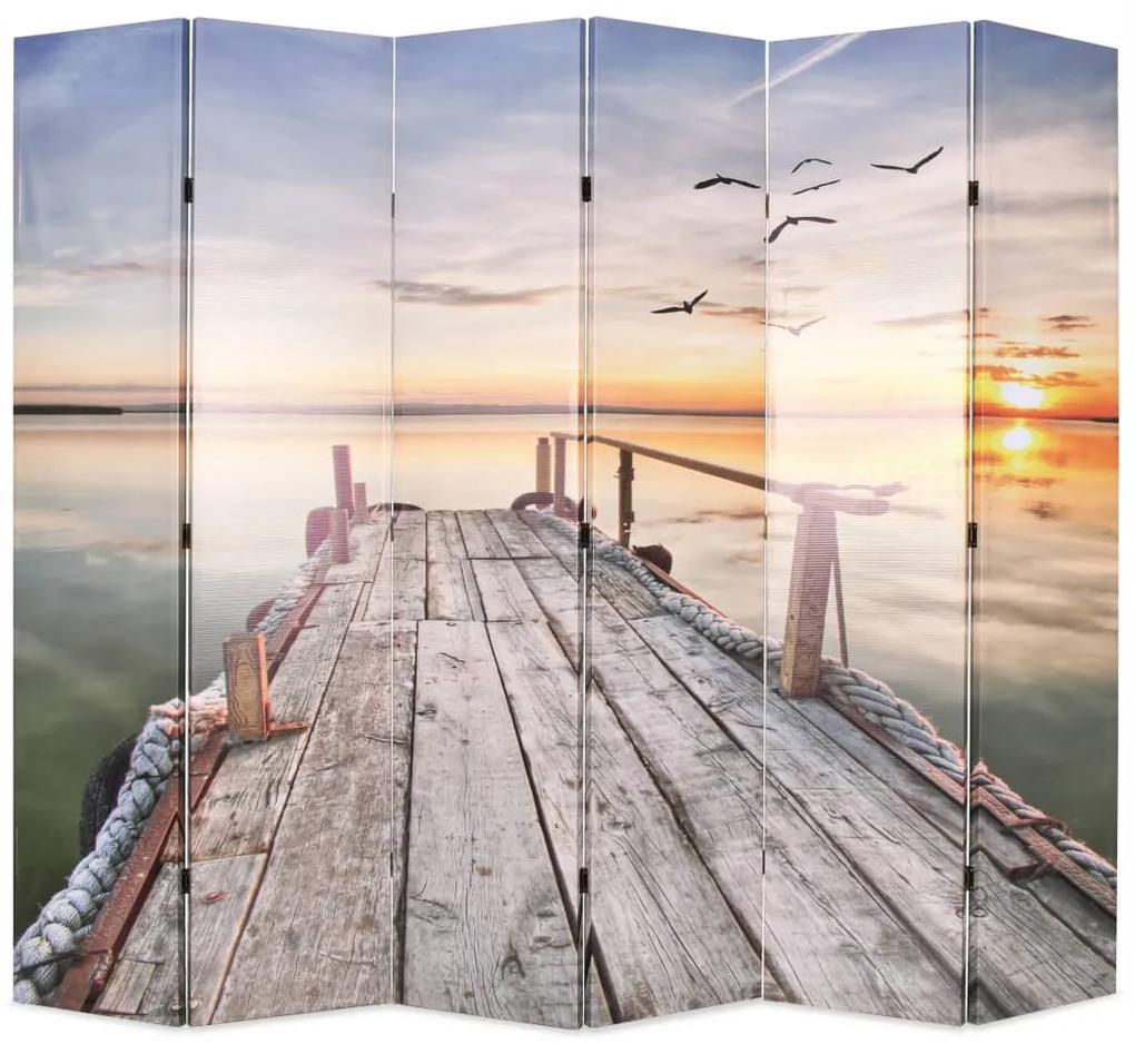 245884 vidaXL Paravan de cameră pliabil, 228 x 170 cm, imprimeu lac