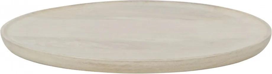 Platou rotund din lemn pentru servire Discus, natural, 41 cm
