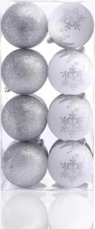 Set 16 globuri pentru brad din plastic Meli Alb / Argintiu, Ø8 cm