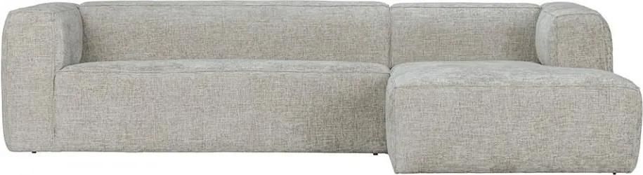 Canapea cu colt gri deschis din poliester si lemn 305 cm Bean Melange Right