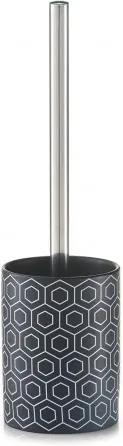 Perie de toaleta cu suport din ceramica, Black / White, Ø 10xH35 cm