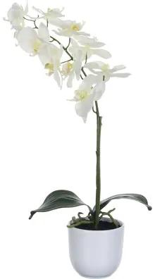 Floare artificiala, orhidee, inaltime 60 cm, alba