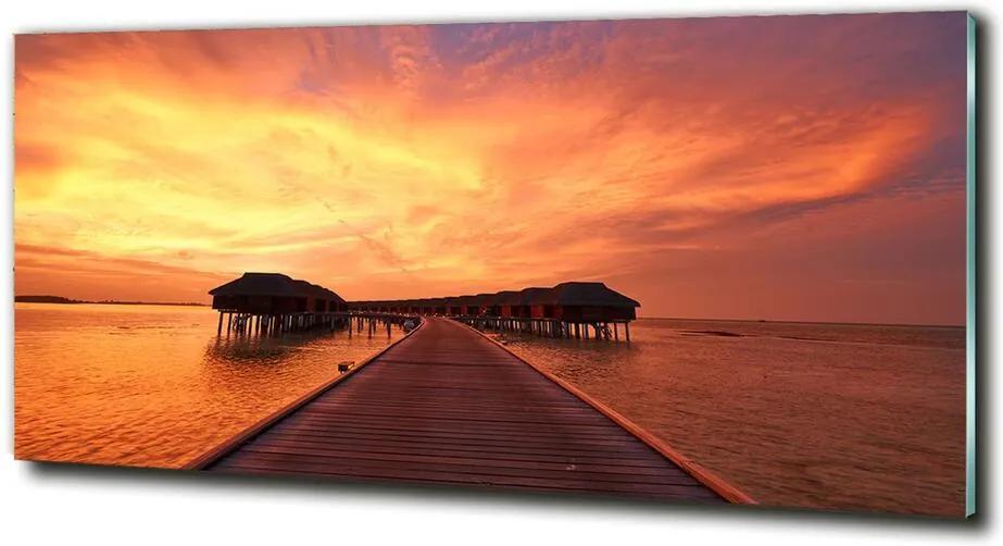 Tablou pe pe sticlă Bungalow-uri Maldive