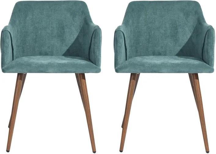 Set de 2 scaune Aiana - tapitate - verde/maro