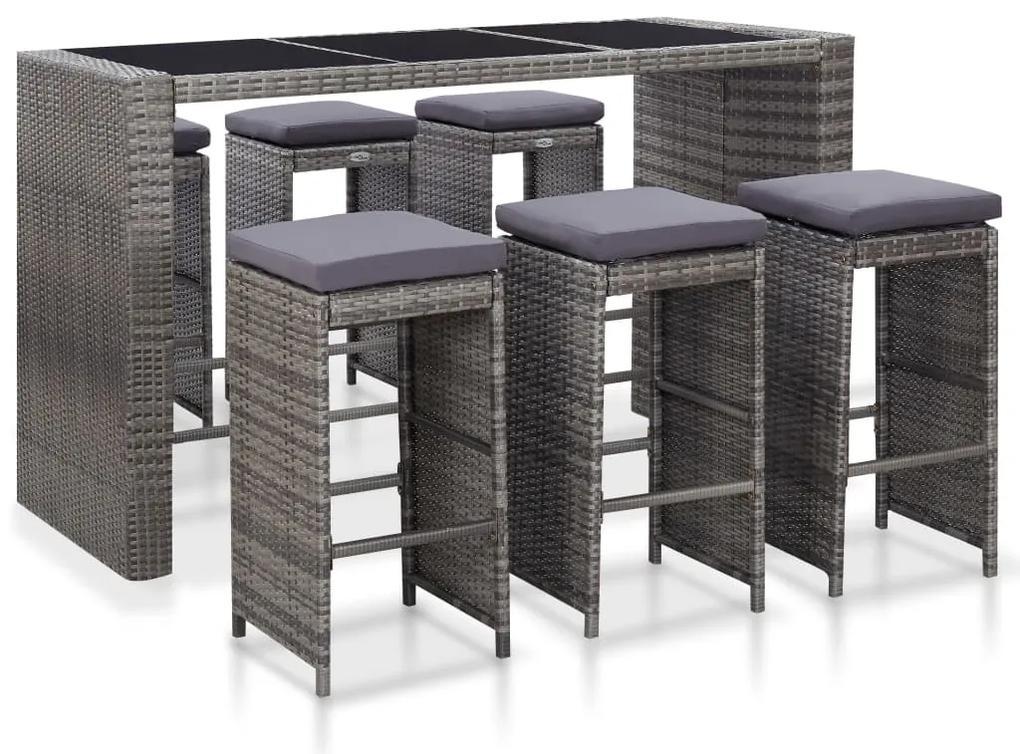 46095 vidaXL Set mobilier bar de grădină cu perne, 7 piese, gri, poliratan
