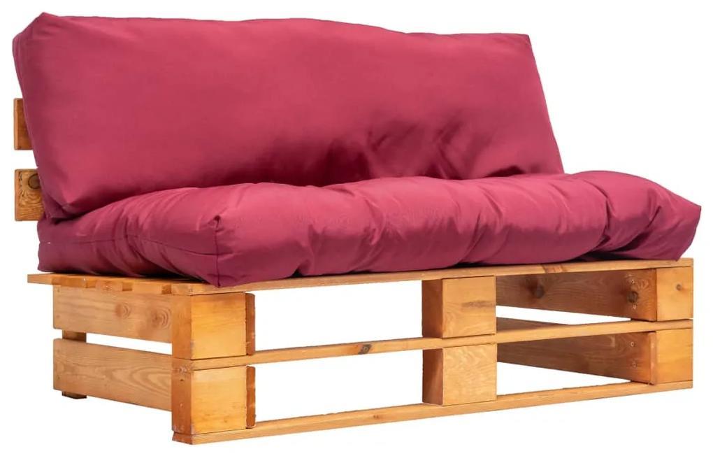 277445 vidaXL Canapea de grădină din paleți cu perne roșii, lemn de pin