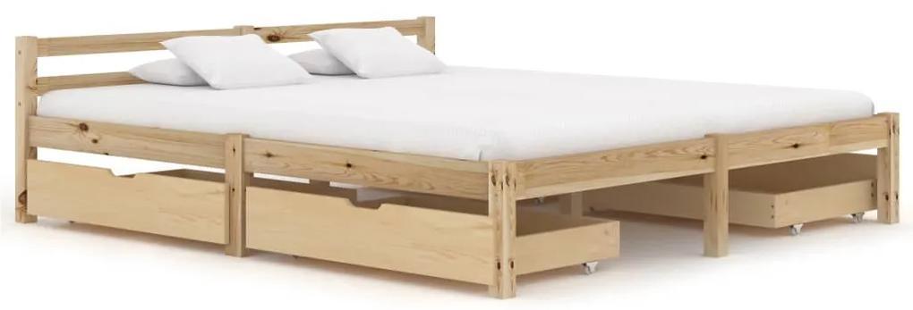 3060334 vidaXL Cadru de pat cu 4 sertare, 160 x 200 cm, lemn masiv de pin