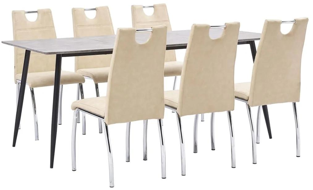 3051005 vidaXL Set mobilier de bucătărie, 7 piese, crem, piele ecologică