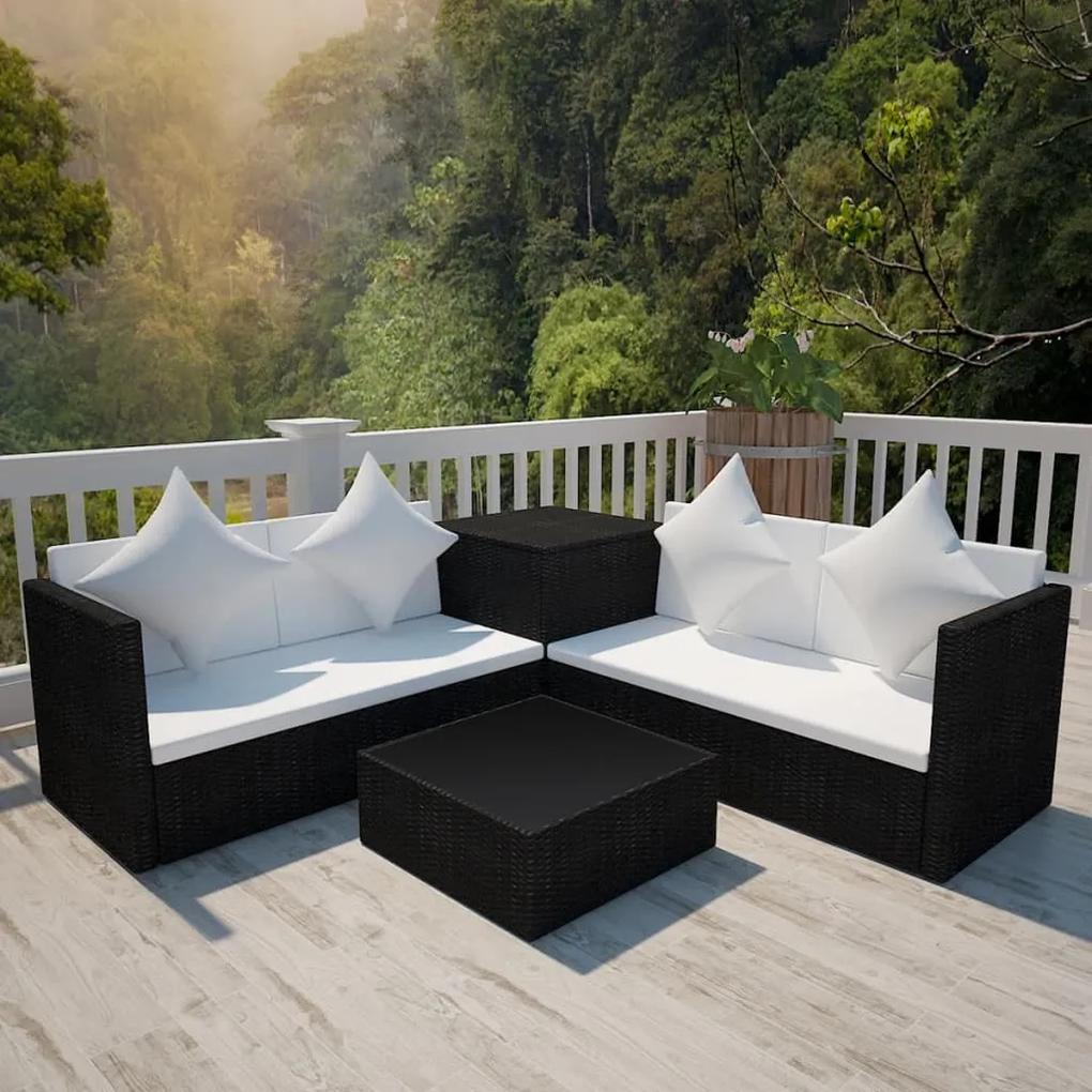 42893 vidaXL Set mobilier de grădină cu perne, 4 piese, negru, poliratan