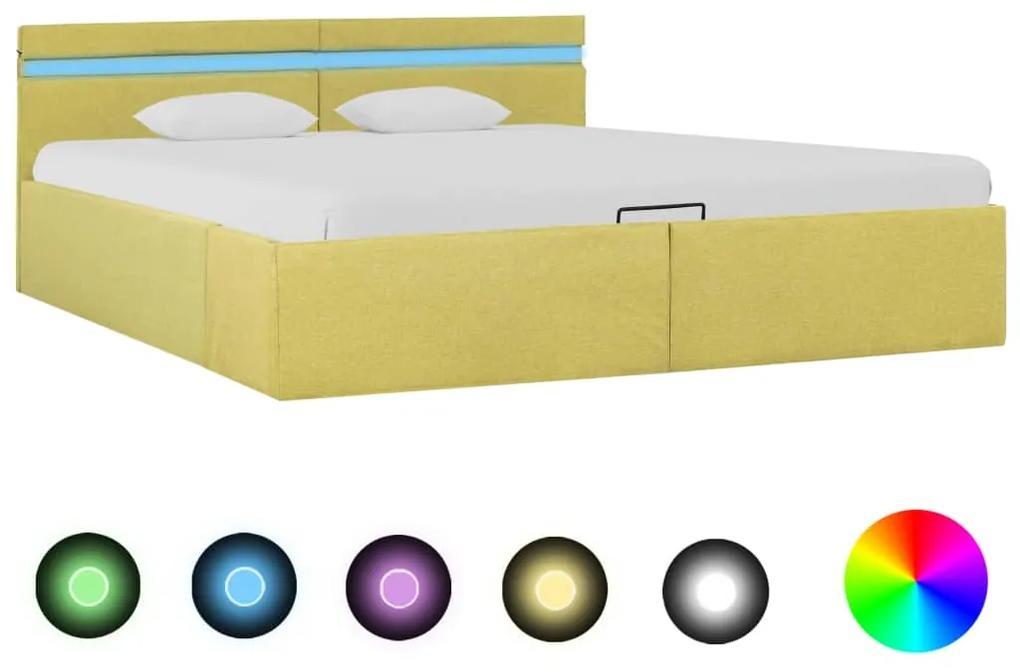285623 vidaXL Cadru pat hidraulic ladă & LED, galben lime, 180x200 cm, textil