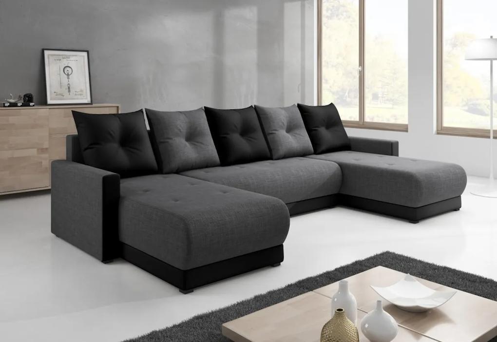 Expedo Canapea în formă de U DESIGNIA, 286x146, Sawana, sawana05_14, gri/negru